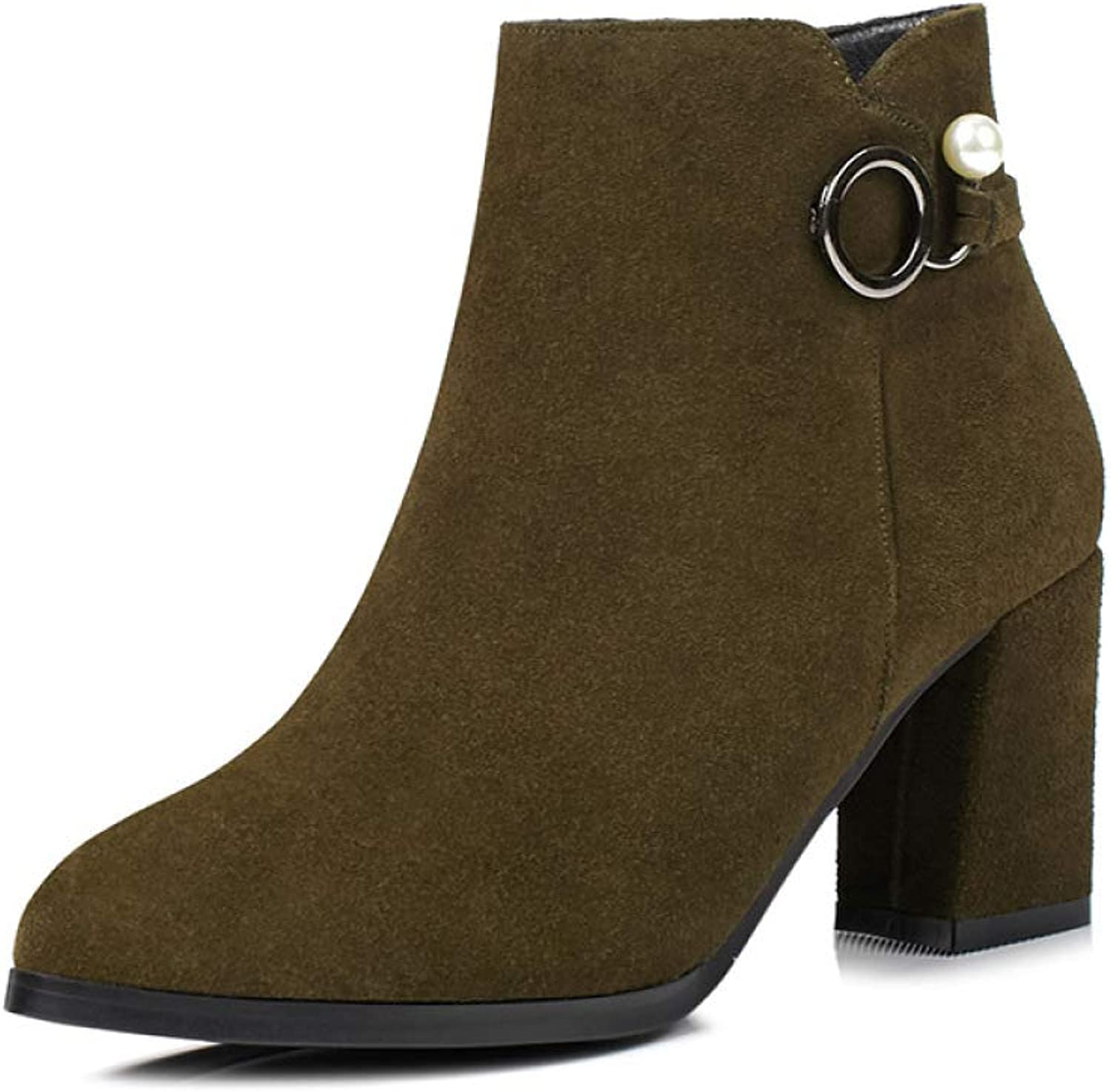 Women Simple Pointed Ankle Boots 2018 Autumn Winter Heel Martin Boots Size 33-43