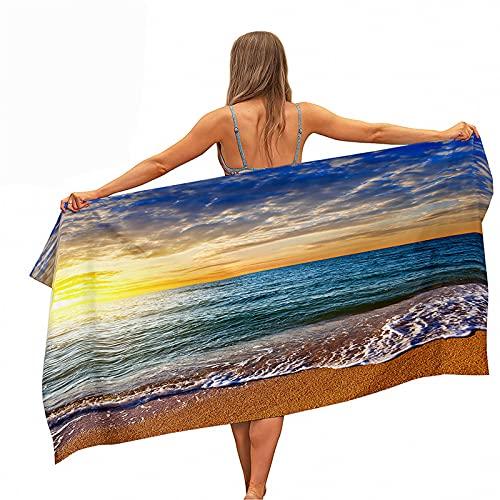 Highdi Toalla de Playa Grande Anti-Arena, 3D Estampado Manta de Playa Microfibra Toalla Secado Rápido Absorbente Esterilla de Yoga Piscina Playa Viaje Picnic (80x160cm,Océano al Atardecer)