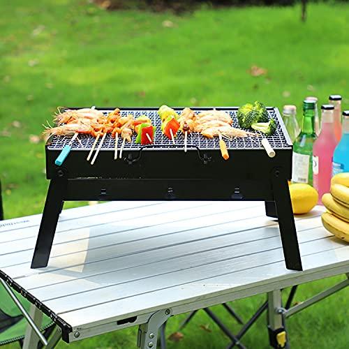 CUQOO Tragbarer BBQ-Grill - Faltbarer Grill-Grill Outdoor Reise BBQ - Holzkohlegrill perfekt für Camping, Garten, Picknick - Klappgrill Camping Grill Edelstahl Smoker