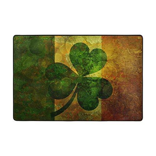 LIANCHENYI Fußmatte mit Kleeblatt-Flagge von Irland, rutschfest, für drinnen & draußen, Badezimmer, 91,4 x 61 cm