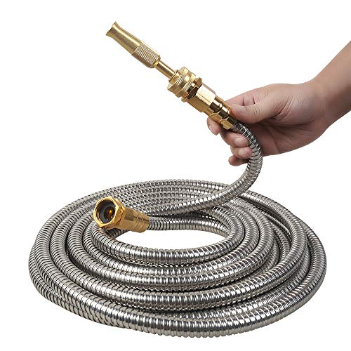 VERAGREEN Stainless Steel Metal Garden Hose 304 Stainless Steel Water Hose with Solid Metal Fittings and Newest Spray Nozzle, Lightweight, Kink Free, Durable and Easy to Store(25FT)
