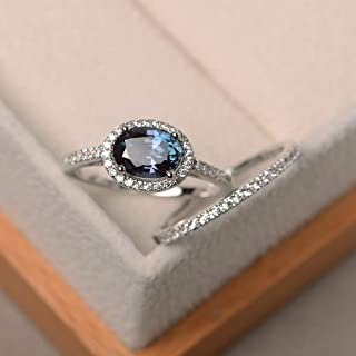 Lab Alexandrite Engagement Rings Set For Women Sterling Silver Oval Cut Gemstone Customized Jewelry Size 3-12