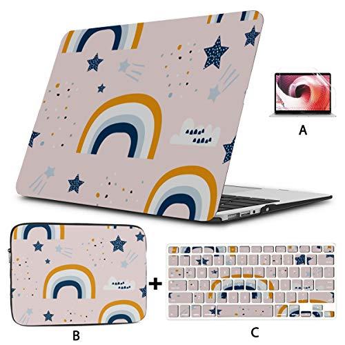 Macbook Air 2017 Case Cute Cartoon Creative Colorful Rainbow Macbook Cover 13 Inch Hard Shell Mac Air 11'/13' Pro 13'/15'/16' With Notebook Sleeve Bag For Macbook 2008-2020 Version