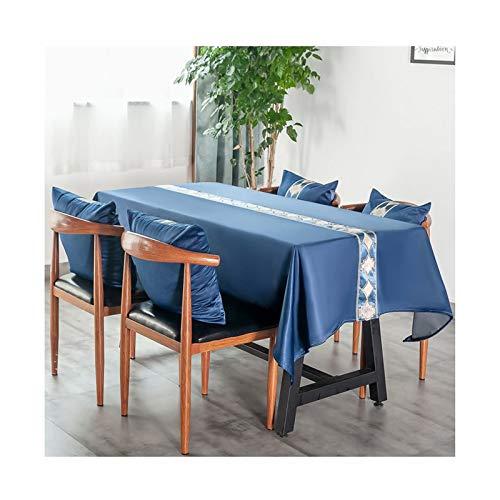 Beydodo Mantel Algodón Lino Azul Mantel Mesa Rectangular Geométrico Mantel de Mesa 140x100CM