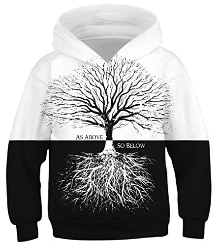Teen Boys Girls Hoodies Casual Cool Hooded Sweatshirts Tops 3D Print Black and White Tree Root Toddler Kids Pullover with Pockets