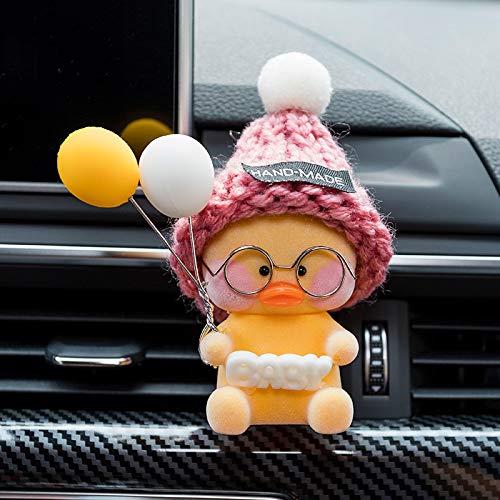 RAP Auto interieur luchtuitlaat aromatherapie clip auto creatieve auto parfum air conditioner cartoon ornament schattig ornament vrouwelijke gele zittend net rode eend [£ + baby] gele en witte ballonnen