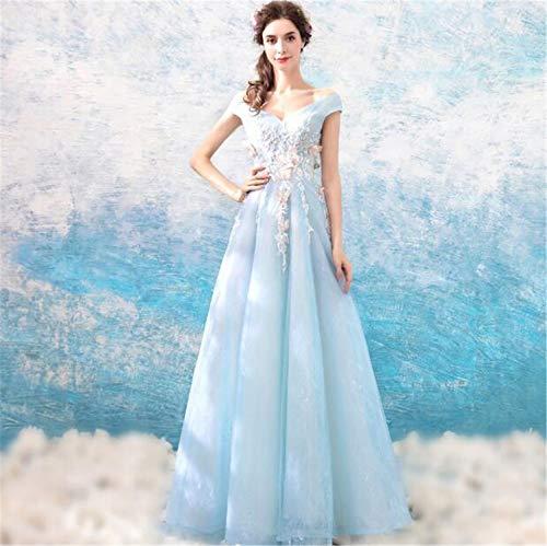 LYJFSZ-7 Hochzeitskleid,Elegantes Hellblaues Bodenlanges Abendkleid Ohne Ärmel, Solides Schmetterlingsdesign, Stilvolles Damen Abendkleid, Hochzeit Und Party Brautkleid No.74231