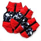 Etophigh Winter-warme Haustier-Hundekleidung-Weste-Jacken-Mantel-Hundegeschirr-Hundemantel-Hundejacke für kleinen Hund/Katze gepolsterte Winter-Kleidung (M, Schwarz rot)