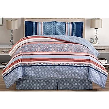 Grand Linen 4-Piece Fine printed Oversize Comforter Set Reversible Goose Down Alternative Bedding (California) Cal King Size (Light Blue, Navy, White, Terracotta Red)