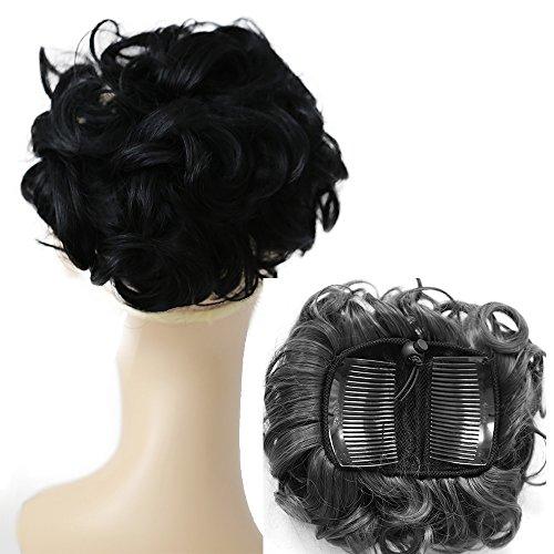 PRETTYSHOP Dutt Haarteil Zopf Haarknoten Hepburn-Dutt Haargummi Hochsteckfrisuren Gewellt Schwarz HK101