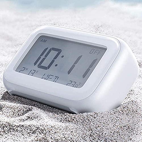 MingXinJia Relojes de Cabecera para el Hogar Control Táctil Reloj Despertador Inteligente, Cabecera para Niños Estudiantes Silencio Pantalla Digital de Temperatura Humedad Resplandor Relojes Elec