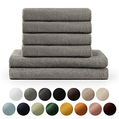 Blumtal Handtücher Set 2 Badetücher 70x140 + 4 Handtücher 50x100 - weich und saugstark, 100% Baumwolle, Oeko-Tex 100 Zertifiziert, Grau