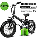 MARTES Electric Folding Bike Fat Tire 20 4' with 48V 500W 15Ah Lithium-ion battery,City Mountain Bicycle Booster 100-120KM,