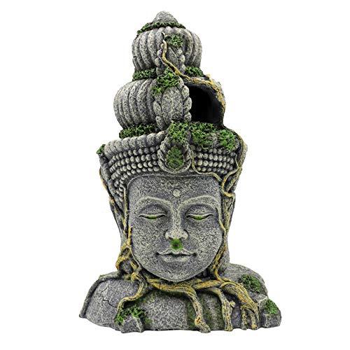 nomal Aquarium-Dekoration, große Aquarium-Ornamente, Höhle, grüne Moospflanze, bedeckt Stein, Buddha-Dekoration, Fischverstecke, 28,5 x 14 x 19,5 cm