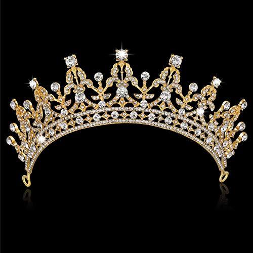 BABEYOND Crystal Queen Tiara Crown Rhinestones Pageant Quinceanera Crown Prom Princess Tiara Crown Bridal Wedding Crown Tiara Headband (Gold)