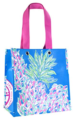 Lilly Pulitzer Blue Market Shopper Bag, Reusable Grocery Tote with Comfortable Shoulder Straps, Swizzle Out