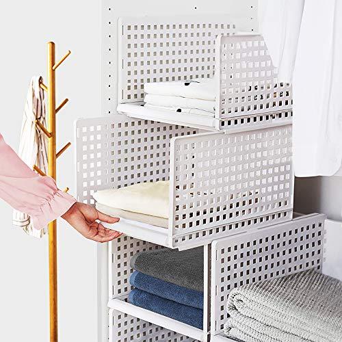 Tuevob Kleiderschrank-Aufbewahrungsbox, 4er-Pack, Kunststoff, stapelbar