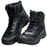 FREE SOLDIER Men's Waterproof Hiking Boots 6 Inches Lightweight Work Boots Military Tactical Boots (Black, 9 US)