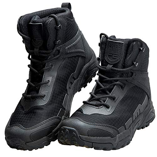 FREE SOLDIER Men's Waterproof Hiking Boots 6 Inches Lightweight Work Boots Military Tactical Boots Durable Combat Boots (Black, 11 US)
