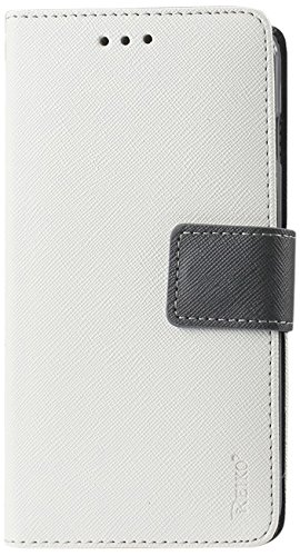 Reiko Premium Wallet Case with Stand Flip Cover and 3 Card Holder for LG G3 Mini/G3 S/G3 Vigor - Retail Packaging - White