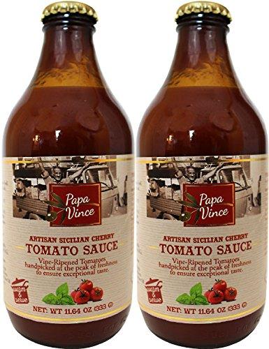 Tomatensauce ohne Zuckerzusatz aus Sizilien, Italien, hergestellt aus rebenreifen Tomaten handverlesen auf dem Höhepunkt der Frische, 333ml (2-Flaschen)