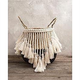 GSDJU Cache Pot,Panier rotin,Fleur,Panier Blanc en jonc de mer pour la décoration Panier à Linge Panier tissé Panier…