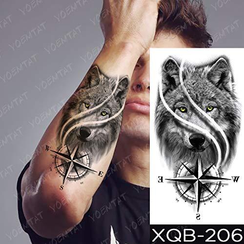 JXAA Etiqueta engomada del Tatuaje a Prueba de Agua Lobo Tigre brújula Bosque Tatuaje Luna pájaro cráneo Cuerpo Arte Brazo Manga Mujeres Hombres 02-XQB206