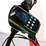 Bolsa de Bicicleta Alforja Bolso Funda Móvil Bolso Delantero con Pantalla de PVC Transparente para Teléfono (Color : Verde)