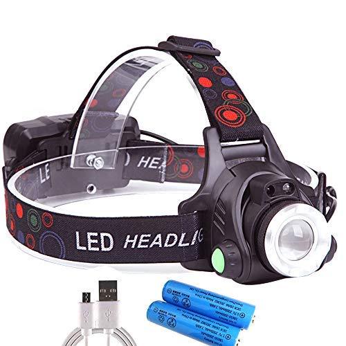 ヘッドライト USB充電式 センサー機能付き 210g 90°調整可能 2つの18650バッテリー付き (マルチカラー)