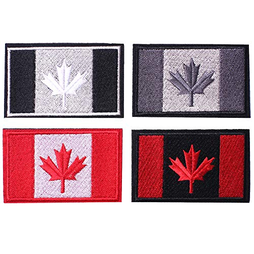 4 Pieces Canada Flag Patches, Tactical Tags Morale National Emblem Patch for Travel Backpack Hats Jackets Team Uniform