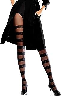 Knittex Horizontal Blickdichte Damen Strumpfhose mit Streifen mit Muster 30 DEN Schwarz