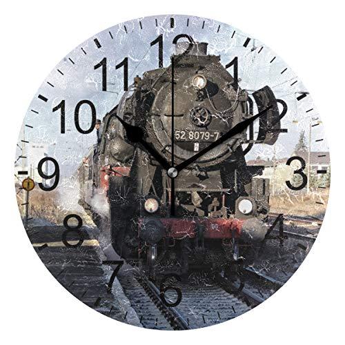 Sennsee Wanduhr mit Dampflokomotive, Retro-Eisenbahn, dekorativ, Wohnzimmer, Schlafzimmer, Küche, batteriebetrieben, runde Uhr, Kunst für Zuhause, einzigartig