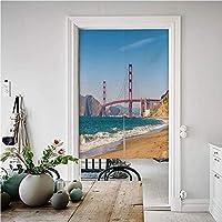 風景 遮光 のれん 間仕切り 無地 (85幅X200丈CM) ゴールデンゲートブリッジのパノラマビュー 暖簾 縞模様 無地 ロング 遮光 のれん 玄関 キッチン リビング サンフランシスコの海岸線の自然海景
