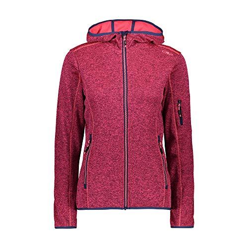CMP Damen Strick Fleece Jacke mit Kapuze leichte Qualität (46, Rot (Blue-Gloss))