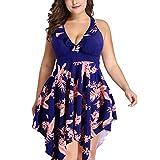 Besbomig mujer talla grande bañadores cómoda traje de baño de una pieza floral tankini falda y pantalones cortos conjuntos - verano playa deporte swimsuit
