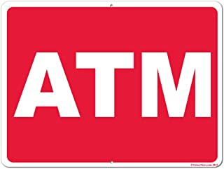 VictoryStore Yard Sign Outdoor Lawn Decorations: ATM Aluminum Outdoor Sign, Size 18 Inch x 24 Inch