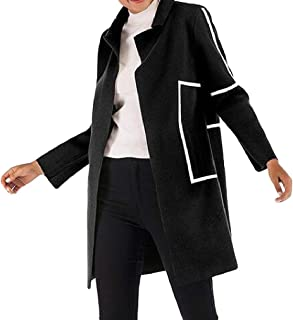 Womens Lapel Warm Open Front Long Stripe Solid Color Pocket Trench Coat Outwear Overcoats