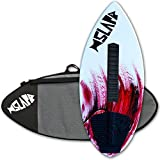 """Slapfish Skimboards - Fiberglass & Carbon - Riders up to 200 lbs - 48"""" with Traction Deck Grip - Kids & Adults - 4 Colors (Red + Bag + Arch)"""