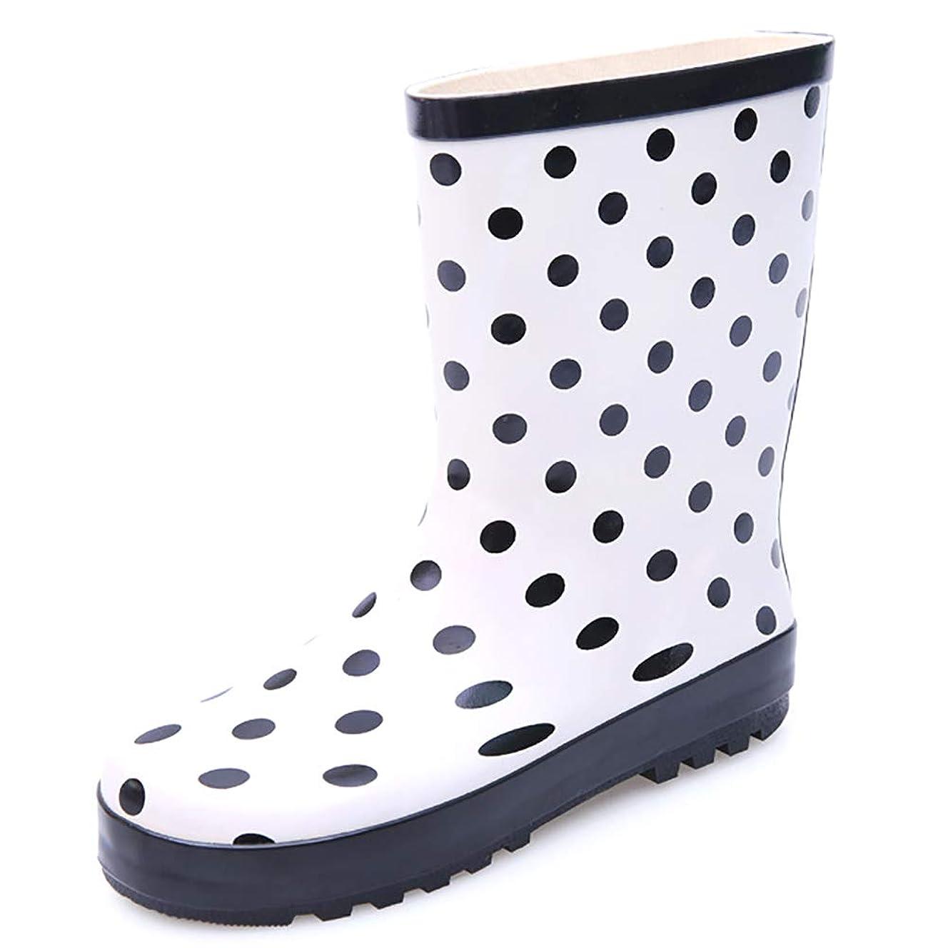 ベンチ辞任するコレクション[Stylein] レインシューズ レインブーツ レディース 雨靴 黒い丸 ミドル丈 可愛い おしゃれ 滑り止め 歩きやすい 完全防水 梅雨対策