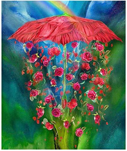 Malen nach Zahlen für Erwachsene Roter Rosenschirm DIY Ölgemälde Kit Leinwand Malerei für Erwachsene Kinder AnfängerHeimtextilien ohne Holzrahmen (16x20in)