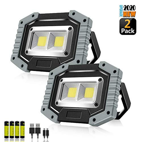 Portable LED Work Light,SONEE Rechargeable COB Work Lamp Waterproof LED Flood Light with Stand Built-in Power Bank Job Light for Indoor Outdoor Lighting (GRAY/2PACK)