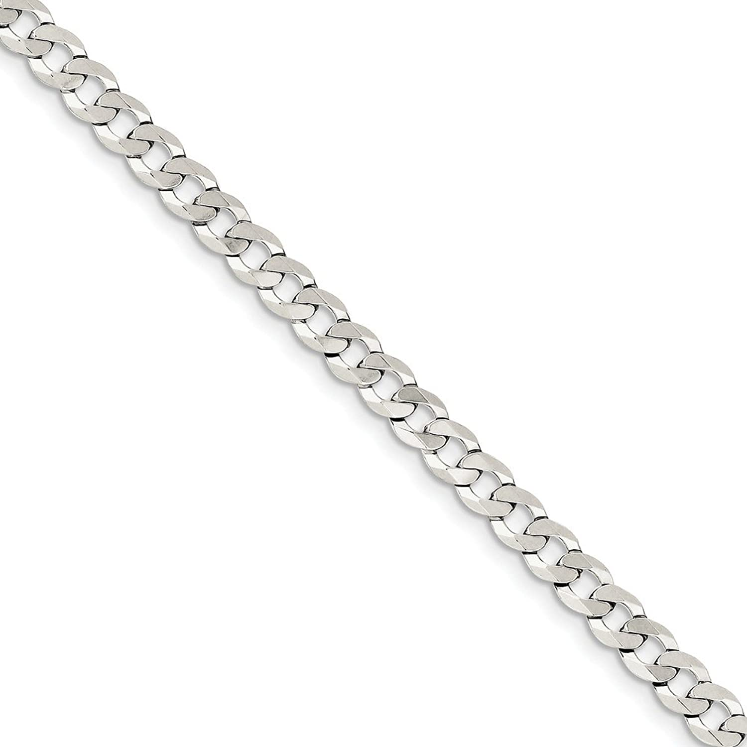 Beautiful Sterling silver 925 sterling Sterling Silver 5.75mm Close Link Flat Curb Chain