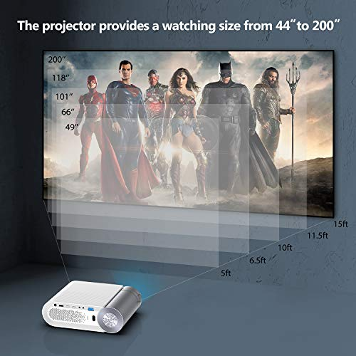 Mini Projector, GooDee 5500 Lumens Portable HD G500 Video Projector 200' Display 1080p Supported LCD Home Movie Projector Compatible with TV Stick HDMI VGA Av USB Micro SD