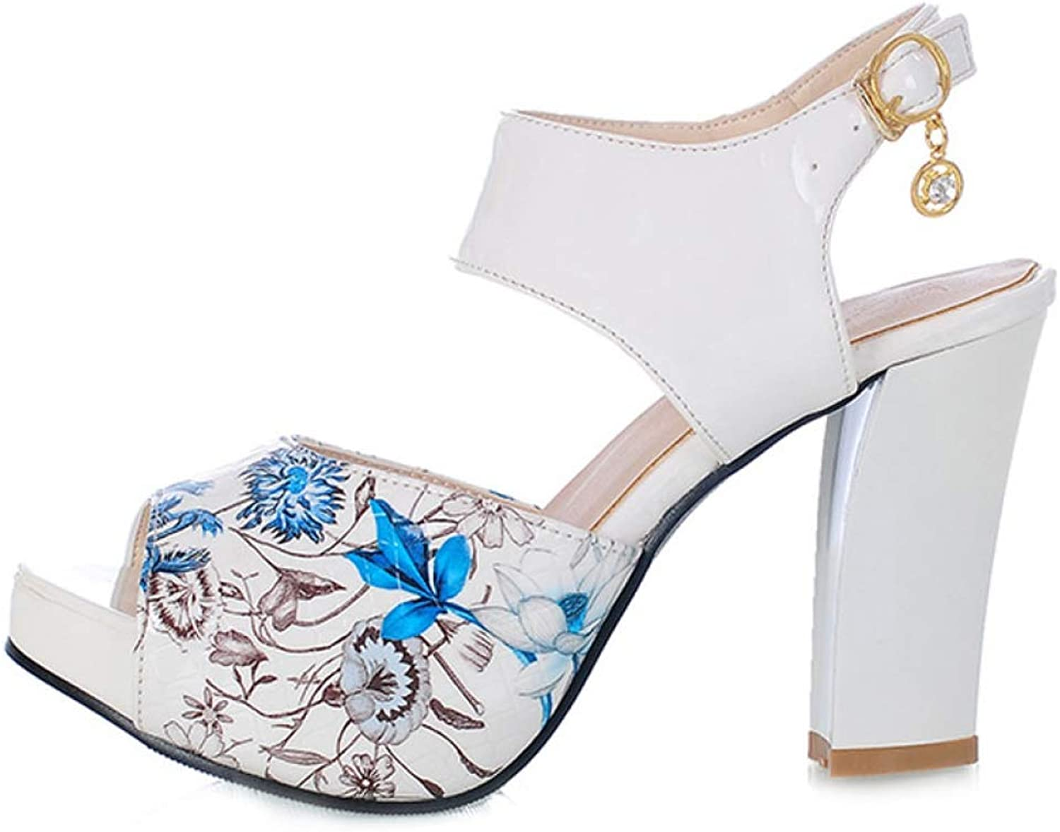 T-JULY Sandal for Women Fish Mouth Buckle Strap Square Heel Ankle Strap Summer Mix color Ladies Fashion Sexy Wedding Party shoes