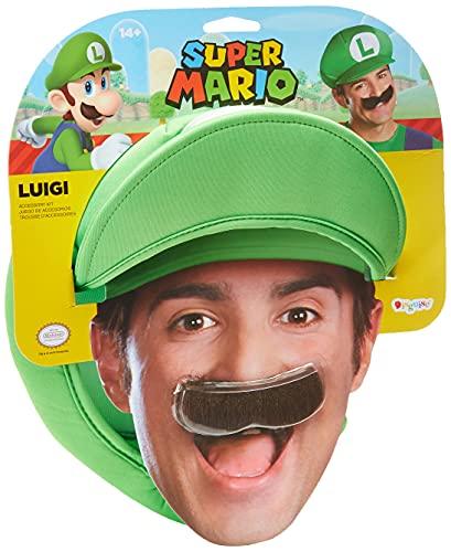 SUPER MARIO 13379 – Casquette et Moustache Luigi pour Adultes, Vert, Taille Unique