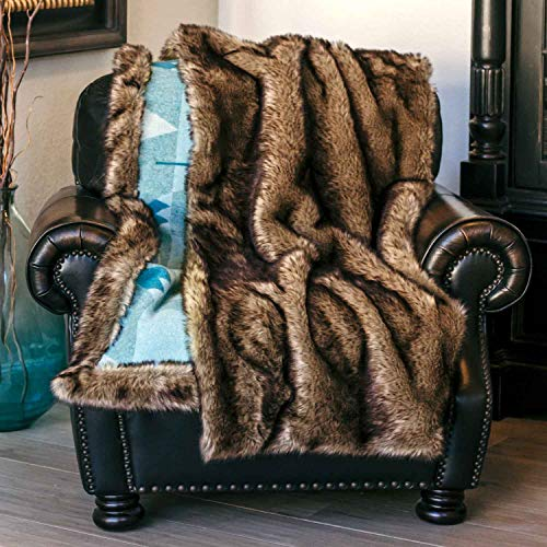 Moonstone Large 64 x 54 Inch Reversible Flannel Faux Wolf Fur Wearable Throw Blanket with Convenient Storage Pocket and Moon Clasp Closure