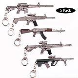 5X Arma Guns Pistola 3D Modelo Llavero de Metal, TLongitud Unos 12cm, Regalo Accesorios Cosas Objetos para Niños Hombre Juego Fans, PUBG Modelo de Rifle Francotirador [M16A4 Scar-L AKM M416 AUG]