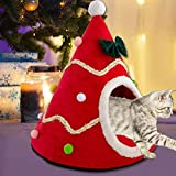 Cat Bed/House Christmas Tree, Soft Cat Tent Cave Bed, Warm Cat Nest With Removable Mat, Washable Semi-Closed Triangle Pet Cuddler Bed For Dogs Cats Kittens Small Animals