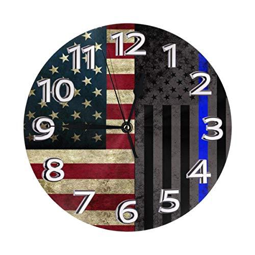 Eileen Max Orologio da Parete Bandiera Americana Sottile Linea Blu - Rotondo Facile da Leggere Decorativo per la Scuola del Ministero degli Interni