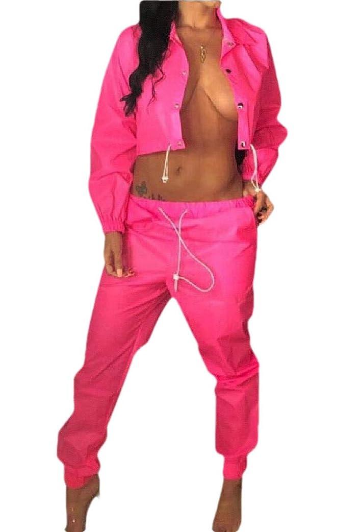赤ちゃん気味の悪い理論女性2ピースジャンプスーツウィンドブレーカーロングスリーブプルオーバージャケット作物トップパンツトラックスーツセット服
